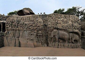 basreliefs, antiguo, nadu, mamallapuram, india, tamil
