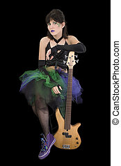 Bass Babe with Fretless - Beautiful young woman with...