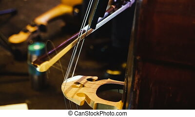 bass., double, instrument, basse, musical