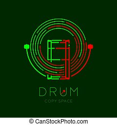 Bass drum, drumstick with line staff circle shape logo icon outline stroke set dash line design illustration isolated on dark green background with drum text and copy space