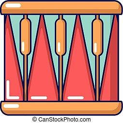 Bass drum icon, cartoon style