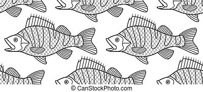 Bass fish contour pattern