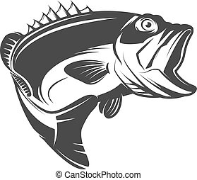 Bass fish icon isolated on white background. Design element for logo, emblem, sign, brand mark. Vector illustration