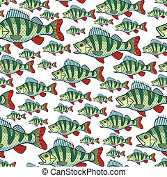 Bass fish repeat pattern - Seamless pattern of the bass fish...