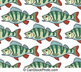 Bass fish seamless pattern