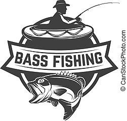 Bass fishing camp. Emblem template with fisherman. Design element for logo, label, sign, poster. Vector illustration