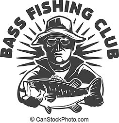 Bass fishing club. Emblem template with fisherman and perch. Design element for logo, label, sign, poster. Vector illustration