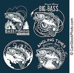 Fishing labels, badges, emblems and design elements. Illustrations of Bass