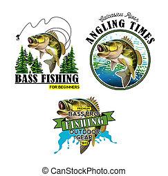 Bass Fishing Emblems. Largemouth Bass Fish Illustration. Isolated on white background.