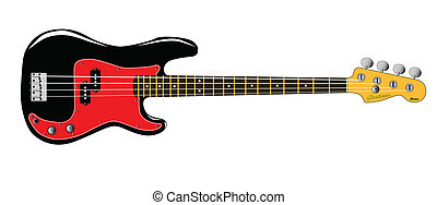 Bass Guitar - A generic bass guitar isolated over a white...