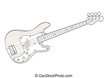 bass guitar drawing on white. vector