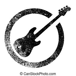 Bass Guitar Ink Stamp