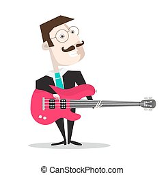 Bass Guitar Player Isolated on White - Retro Vector Flat Design Illustration