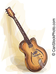 Bass Guitar. Watercolor style.