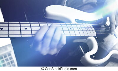 Bass Guitarist Playing Bass Guitar Close Up