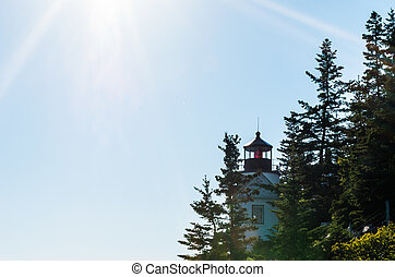 Bass Harbor Head Light with sunrays