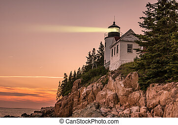 Bass harbor light at dusk