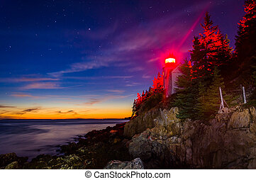 Bass Harbor Lighthouse at night, in Acadia National Park, Maine.