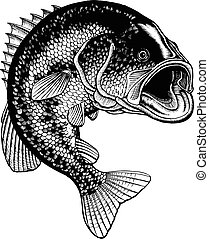 Bass Jumping Vintage is an illustration of a large mouth...