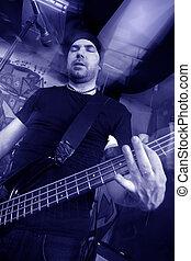 Bass player blue