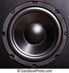 Bass speaker - Closeup view of black bass speaker