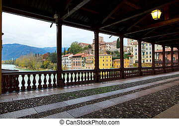 Beautiful view on the deck of the Alpine in Bassano del Grappa