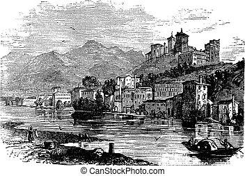 Bassano del Grappa, in Veneto, Italy, during the 1890s, vintage engraving. Old engraved illustration of Bassano del Grappa.