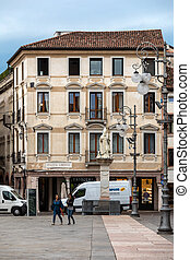 Piazza Liberta ( Liberty Square) in Bassano del Grappa. ...