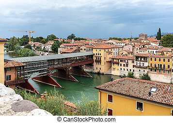 Bassano del Grappa, Italy  - The wooden covered Bridge, or Ponte degli Alpini, on the Brenta River