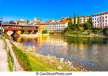 Bassano del Grappa, Old Bridge also known as Bridge of the Alpini. Vicenza, Italy