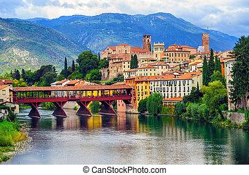 Bassano del Grappa Old Town and Ponte degli Alpini bridge, Veneto province, Italy