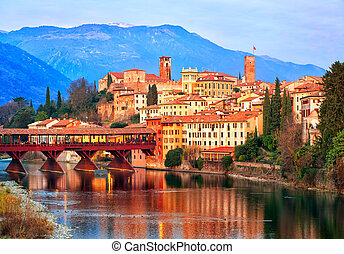 Bassano del Grappa town in the Alps mountains, Italy