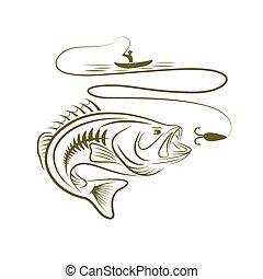 basse, grand, illustration, bouche, pêcheur, bateau