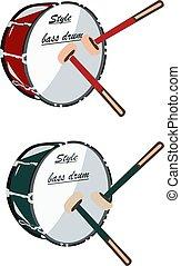 basse, tambours