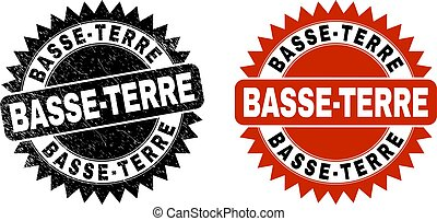 Black rosette BASSE-TERRE seal stamp. Flat vector scratched seal stamp with BASSE-TERRE title inside sharp rosette, and original clean source. Rubber imitation with scratched texture.