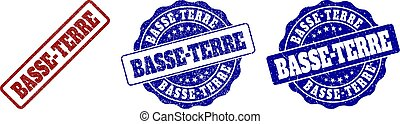 BASSE-TERRE grunge stamp seals in red and blue colors. Vector BASSE-TERRE signs with grunge effect. Graphic elements are rounded rectangles, rosettes, circles and text labels.