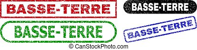 BASSE-TERRE grunge seal stamps. Flat vector grunge watermarks with BASSE-TERRE phrase inside different rectangle and rounded forms, in blue, red, green, black color variants.