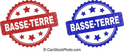 Rosette BASSE-TERRE watermarks. Flat vector textured watermarks with BASSE-TERRE title inside rosette shape with stars, in blue and red color variants. Watermarks with grunged surface.