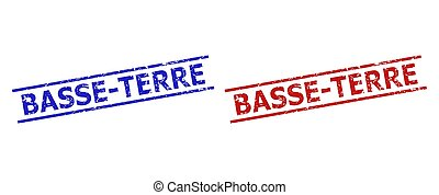 Blue and red BASSE-TERRE stamps on a white background. Flat vector scratched seal stamps with BASSE-TERRE phrase between 2 parallel lines. Imprints with unclean texture.