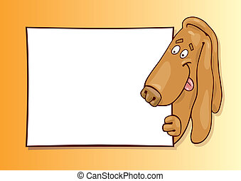 Basset dog with card - llustration of basset dog with card