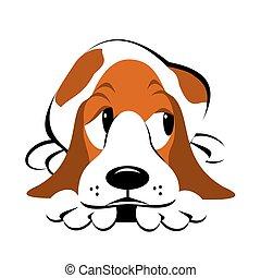 Basset Hound Cartoon - Basset hound lying down with a guilty...