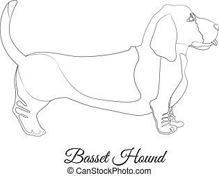 Basset hound dog breed outline