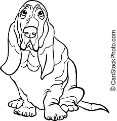 basset hound dog cartoon for coloring book - Black and White...