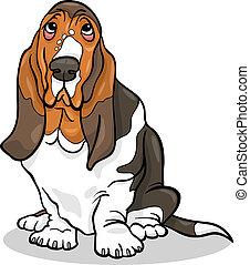 Cartoon Illustration of Cute Basset Hound Purebred Dog