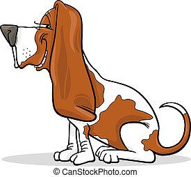 Cartoon Illustration of Funny Purebred Spotted Basset Hound Dog