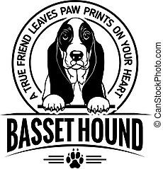 Basset Hound - Dog Set Happy Face Paw Puppy Pup Pet Clip Art K-9 Cop Police Logo SVG PNG Clipart Vector Cricut Cut Cutting - vector illustration for t-shirt, logo and template badges in monochrome style
