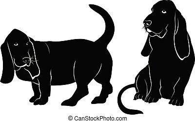 Basset hound dog vector silhouette