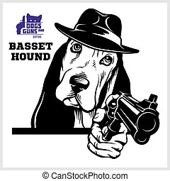 Basset Hound dog with gun - Basset Hound gangster. Head of Funny Basset Hound