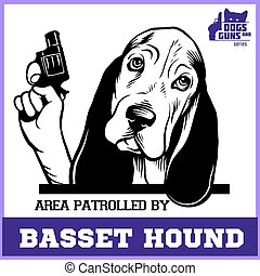 Basset Hound dog with revolver gun - Basset Hound gangster. Head of Funny Basset Hound