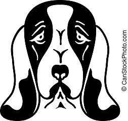 Basset hound head silhouette black and white